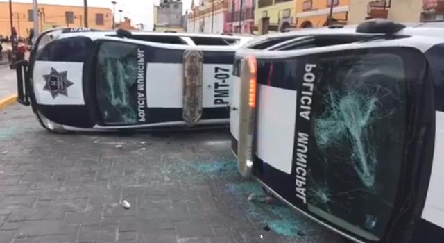 Une rue d'Ixtenco  après les affrontements