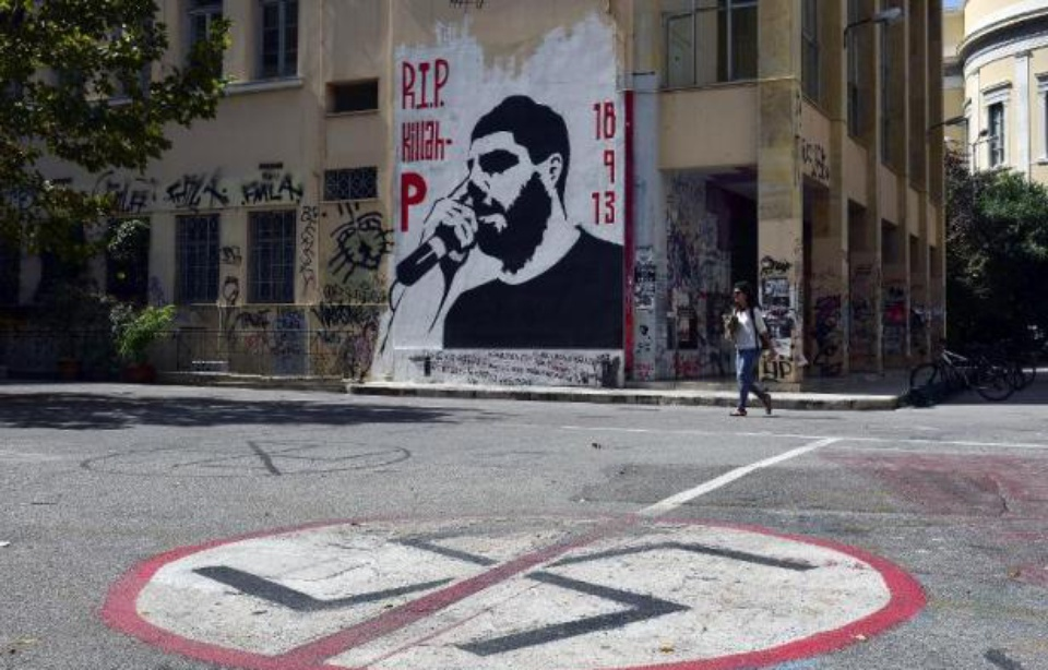 Athènes: fresque à la mémoire de Pávlos Fýssas AKA