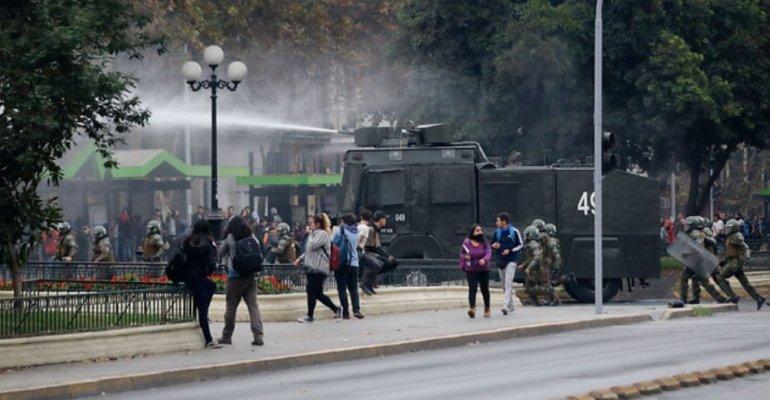 L'intervention des Carabiniers hier à Santiago