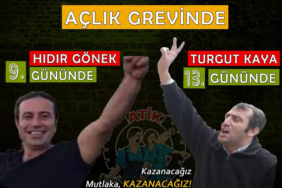 Affiche de l'ATIK en soutien à Turgut Kaya et Hıdır Gönek