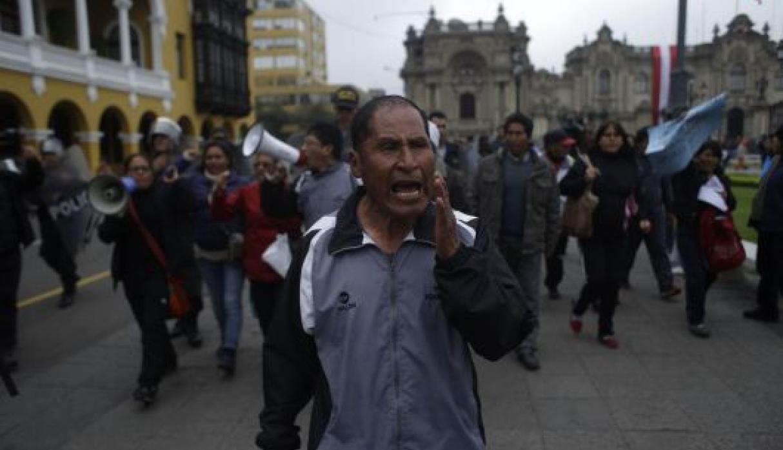 La manifestation des enseignants dans le centre de Lima