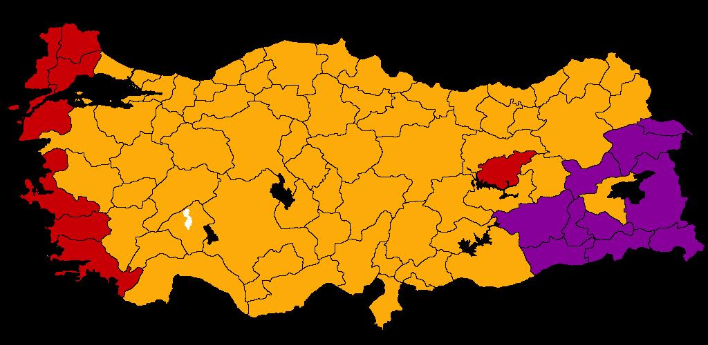 En rouge, l'opposition kemaliste, en orange l'AKP et ses alliés, en violet, l'HKP