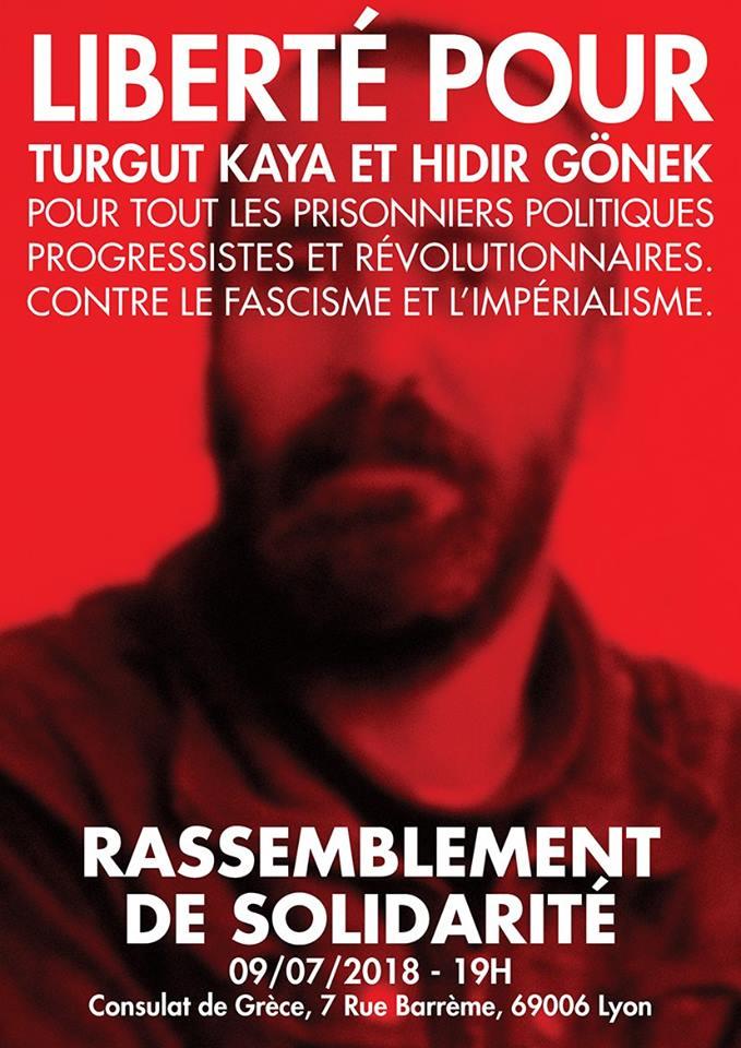 Rassemblement pour Turgut Kaya et Hidir Gönek à Lyon