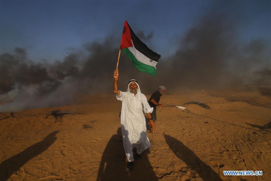 A la frontière de Gaza hier 6 juillet