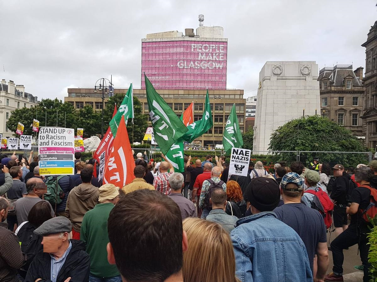 La mobilisation antifasciste à Glasgow