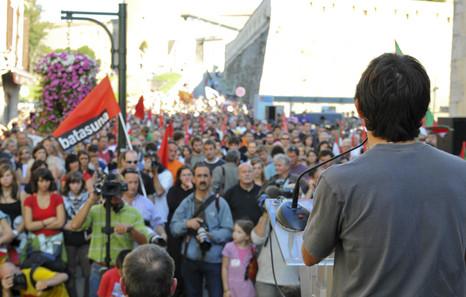Mobilisation à Bayonne, en 2008, en soutien aux militants d'abertzale Batasuna et d'EHAK