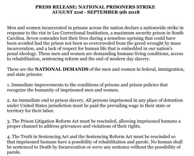 Une partie des revendications des prisonniers