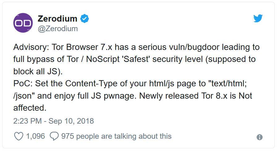 Faille critique de Tor Browser