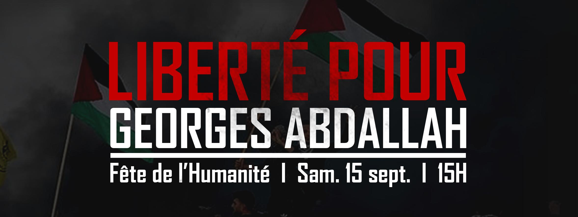 Mobilisation à la Fête de l'Humanité à Paris pour Georges Abdallah.