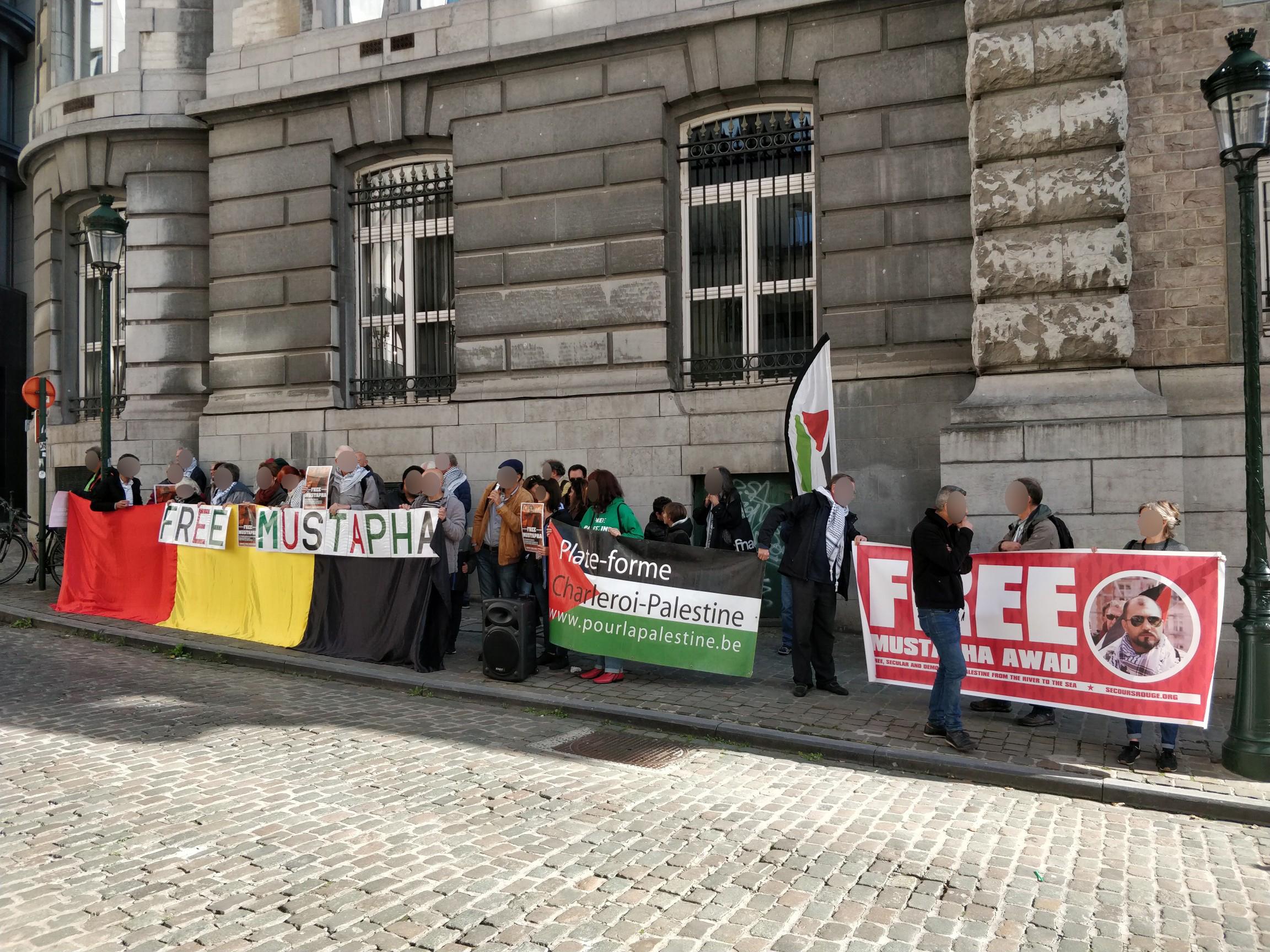 Rassemblement pour Mustapha Awad devant le Ministère des Affaires Etrangères belge.
