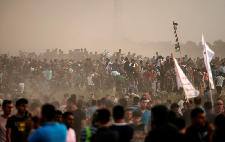 Manifestation palestinienne hier lundi à Gaza