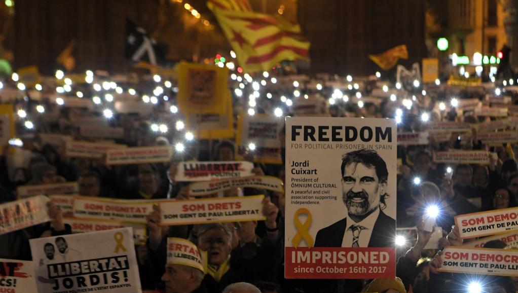 Manifestation poru les prisonniers indéopendantistes catalans (archive)