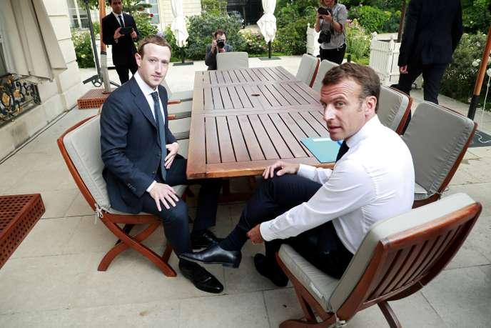 Mark Zuckerberg et Emmanuel Macron à l'Elysée, le 23 mai