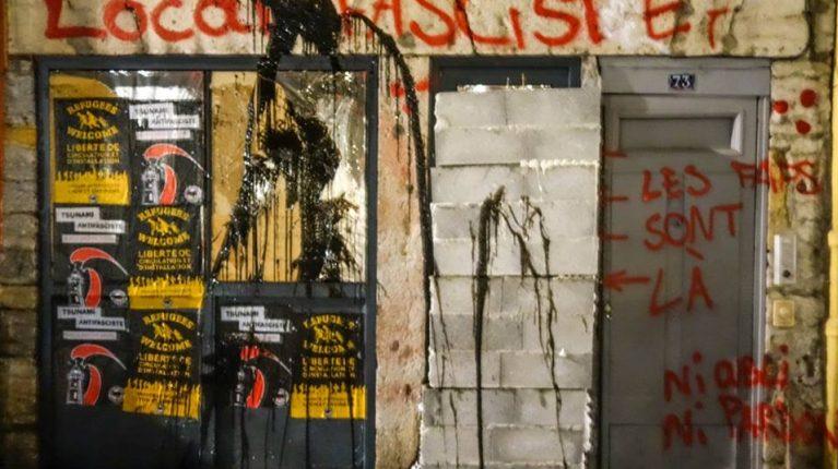 Photo du local néo-fasciste après l'attaque du mois d'avril