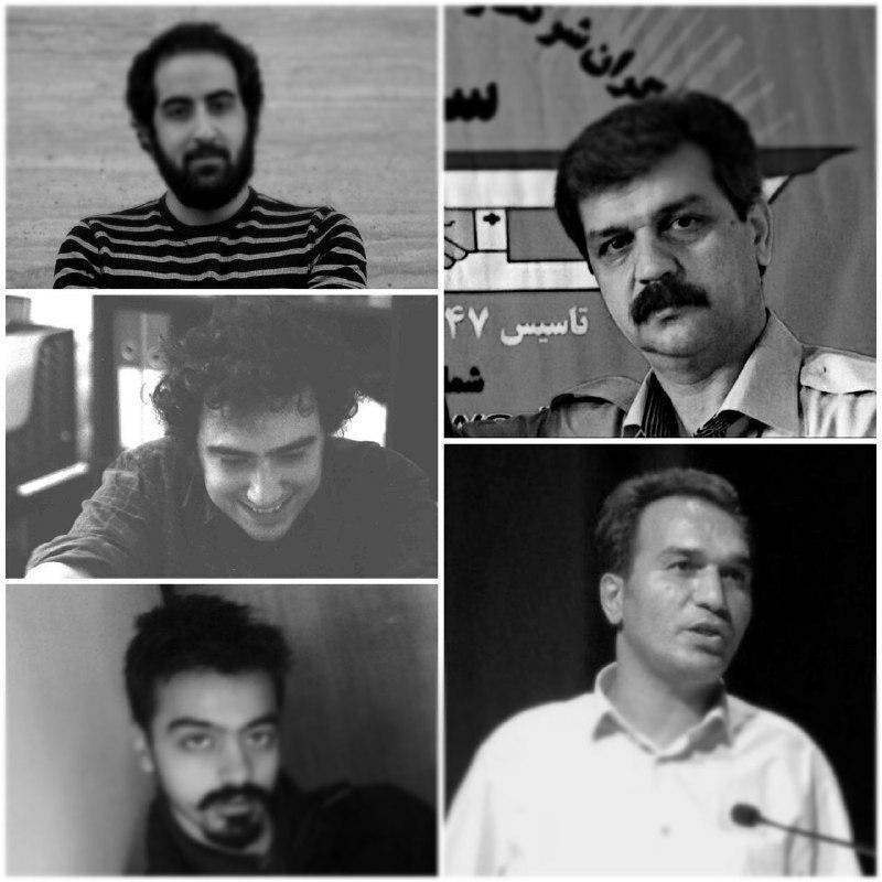 Amir Abbas Azaram Vand, Raham Yeganeh, Keyvan Mohtadi (à gauche), Reza Shahabi et Hassan Saeidi (à droite)