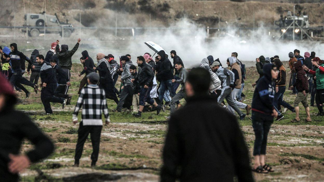 Manifestants à la frontière de Gaza