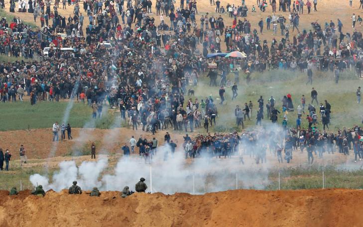 Une des Marches du Retour à la frontière de Gaza