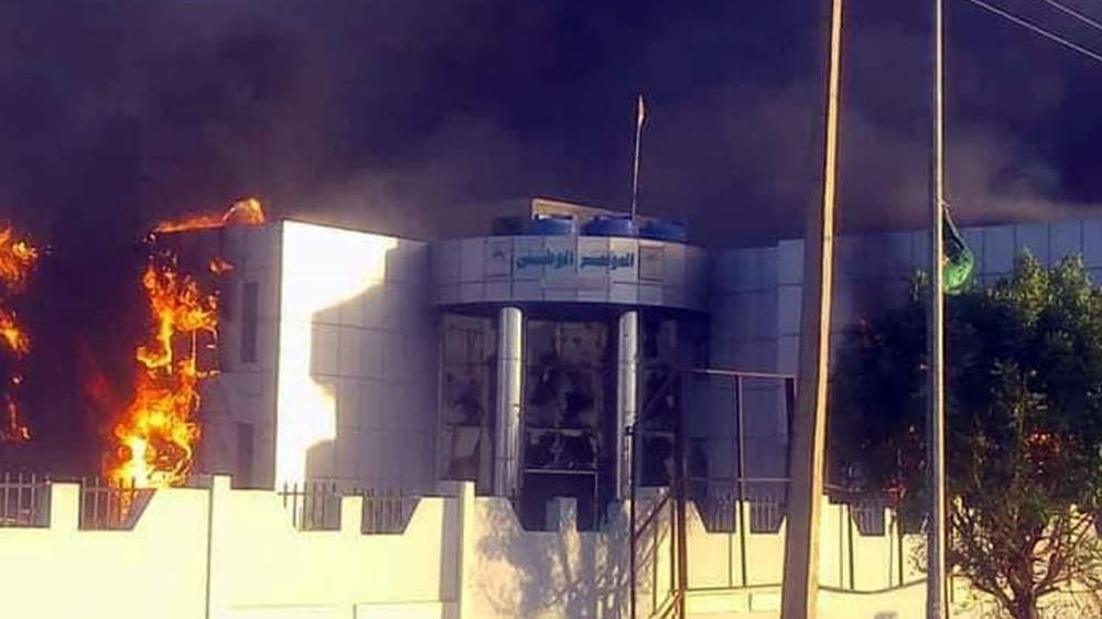 Immeuble incendié à l'occasion des dernières manifestations à Khartoum