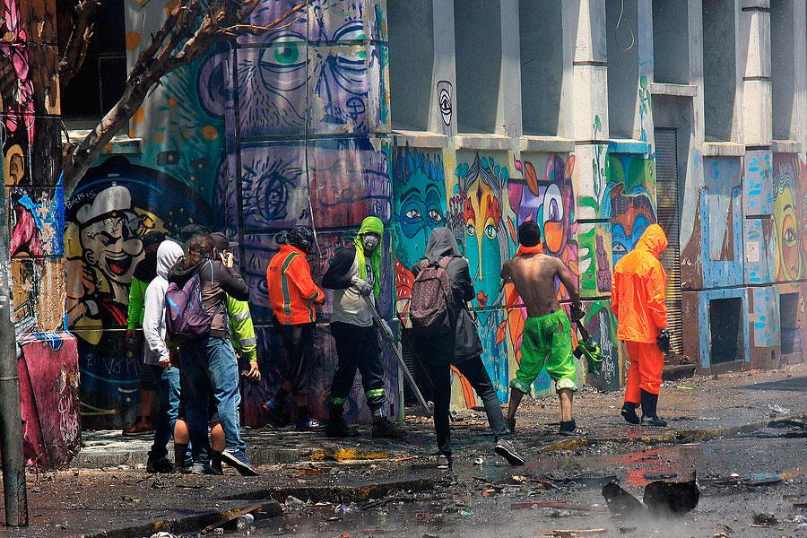 Les affrontements à Valparaiso