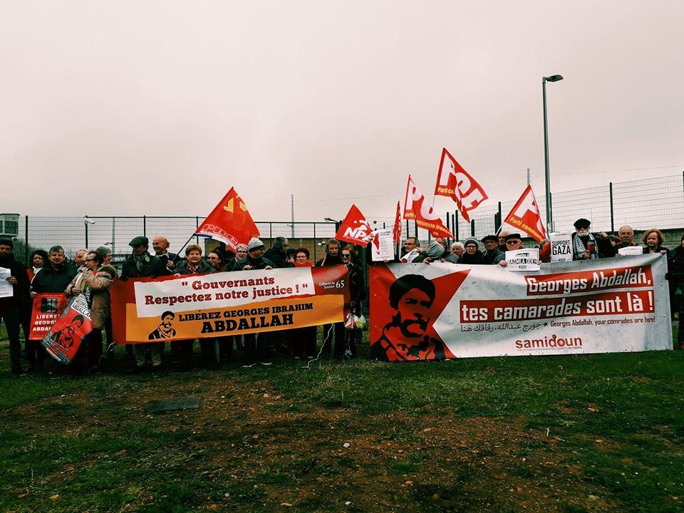 Rassemblement devant la prison de Lannemezan du 02 avril 2019 pour la libération de Georges Abdallah