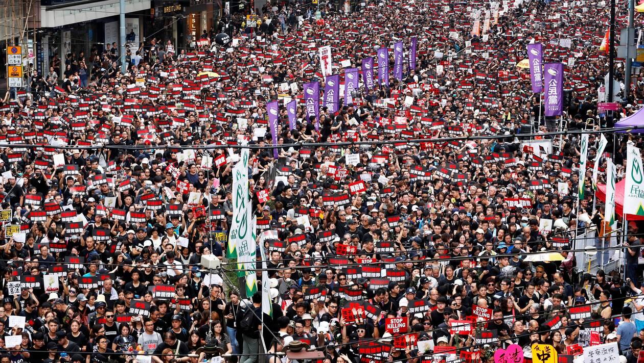 La manifestation d'hier dimanche à Hong Kong