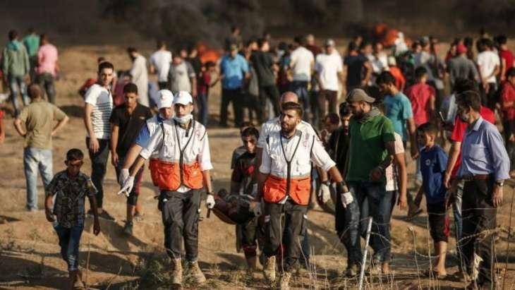 Un blessé est emporté hier à la frontière de Gaza