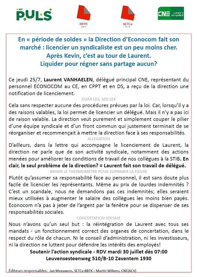 Soutien à Laurent Vanhaelen