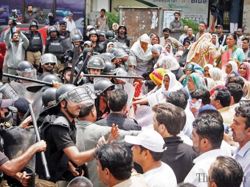 Manifestation des infirmières grévistes à Karachi