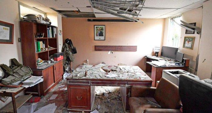 Le commissariat de Huechuraba après l'explosion