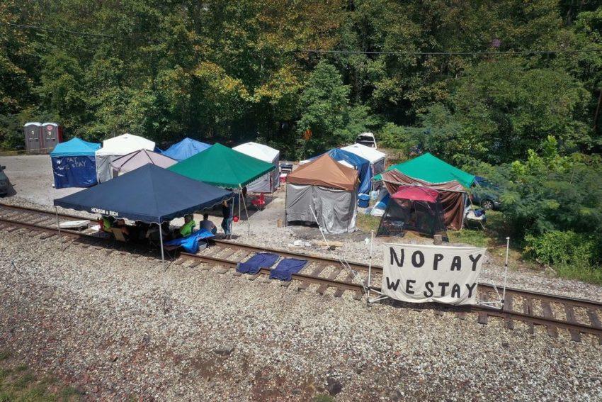Camp de protestation des miniers et de leurs familles à Harlan County, Kentucky
