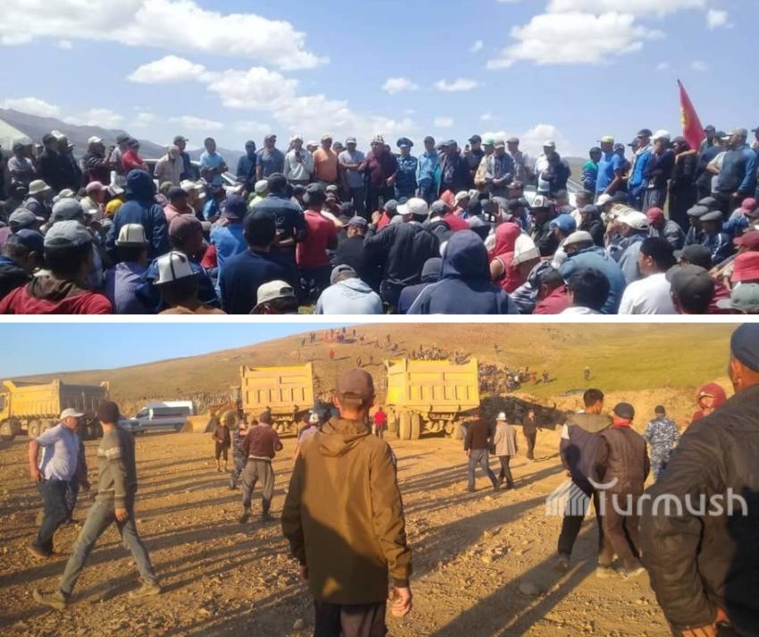Les habitants des environs envahissant le site de la mine de Solton-Sary