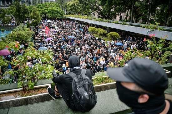 Une des manifestations d'hier à Hong Kong