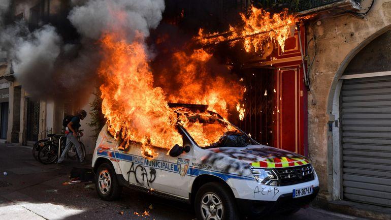 La voiture de police incendiée à Montpellier