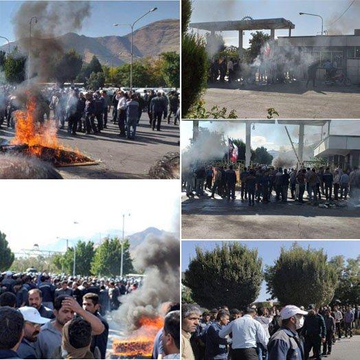 Les ouvriers d'Azarab, de la ville d'Arak, en lutte