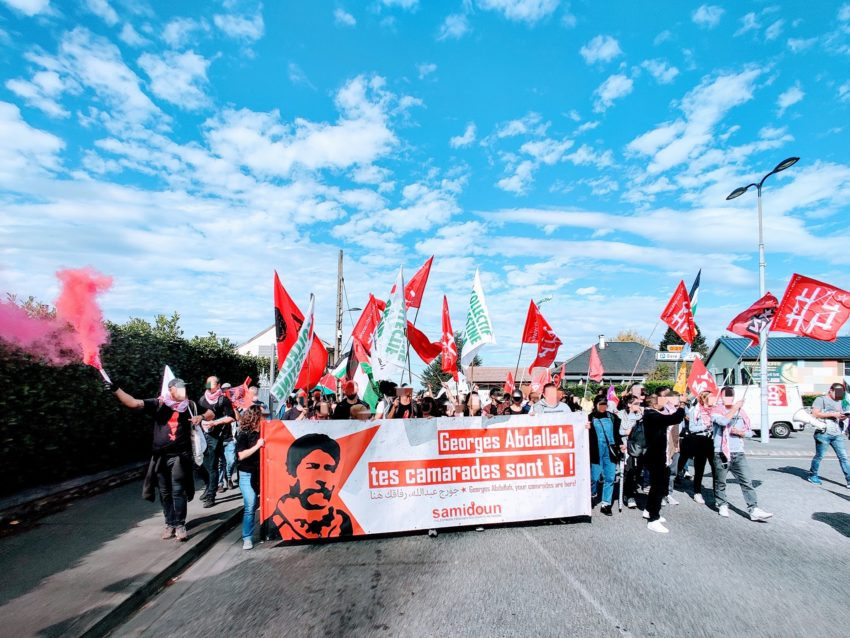 Manifestation pour la libération de Georges Abdallah à Lannemezan