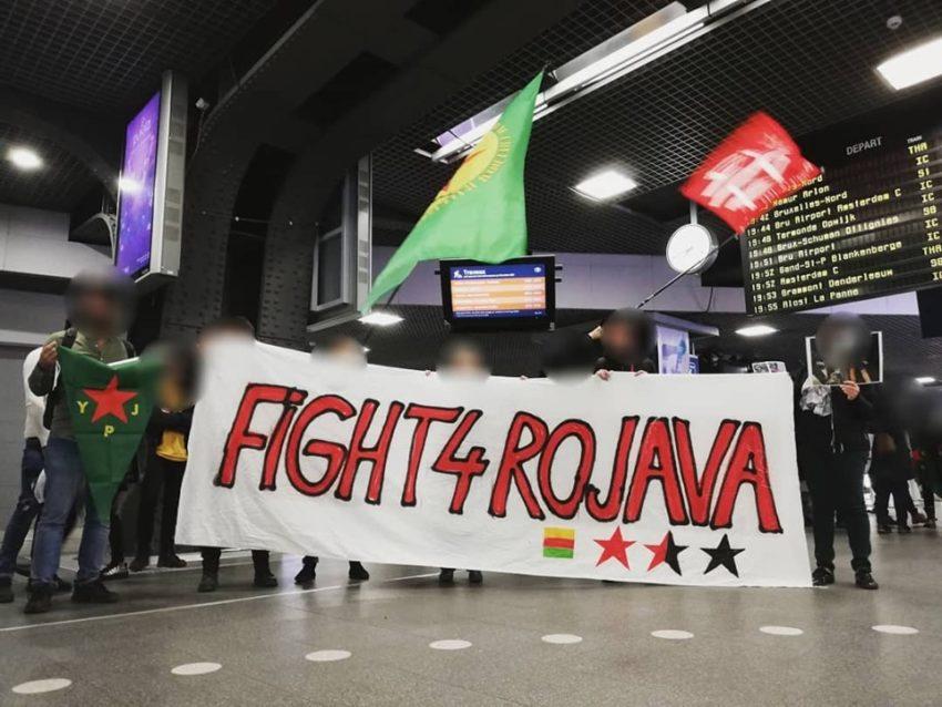 Manifestion à la gare du Midi à Bruxelles en soutien au Rojava