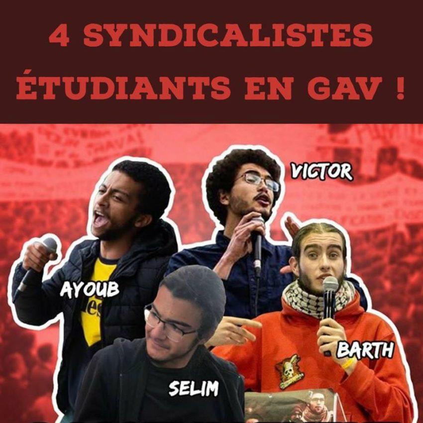 Les 4 syndicalistes étudiants de Nanterre