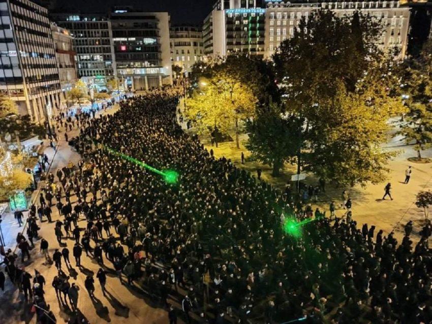 La manifestation à Athènes