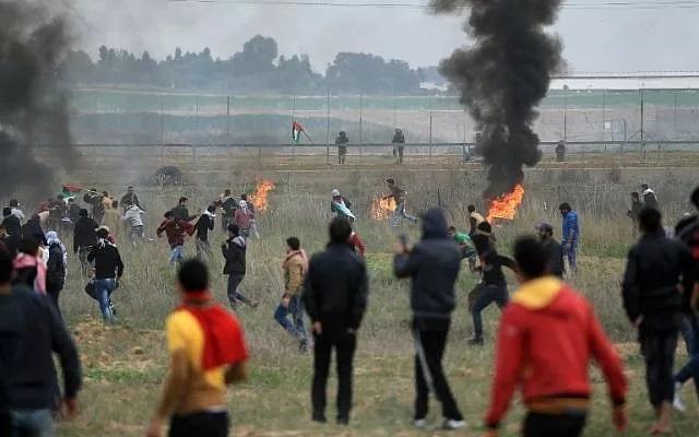 Manifestation à la frontière de Gaza