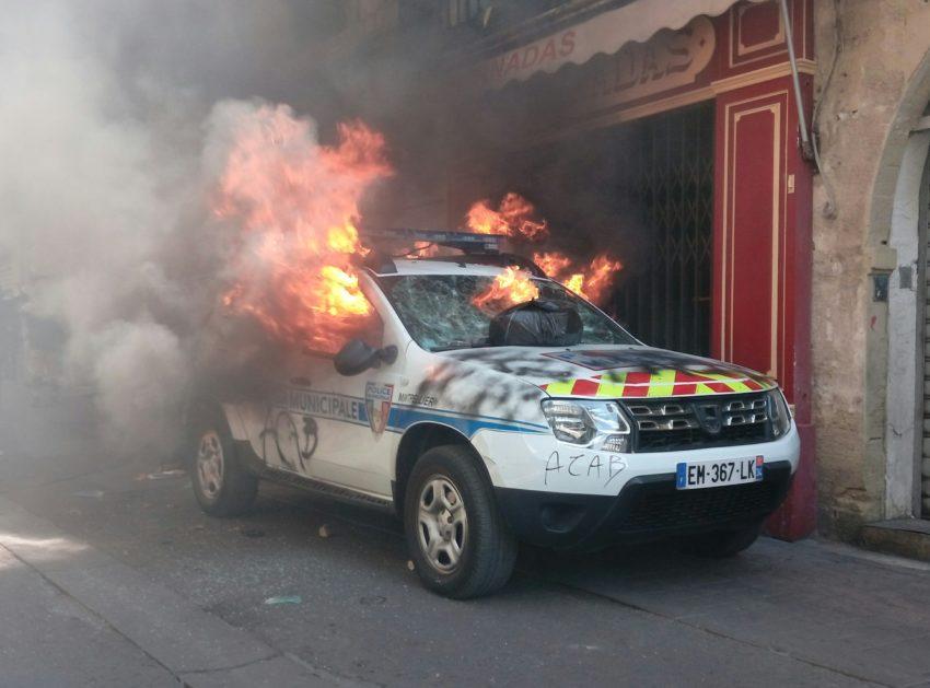 Voiture de police municipale incendiée le 7 septembre à Montpellier lors de l'acte 43 des gilets jaunes