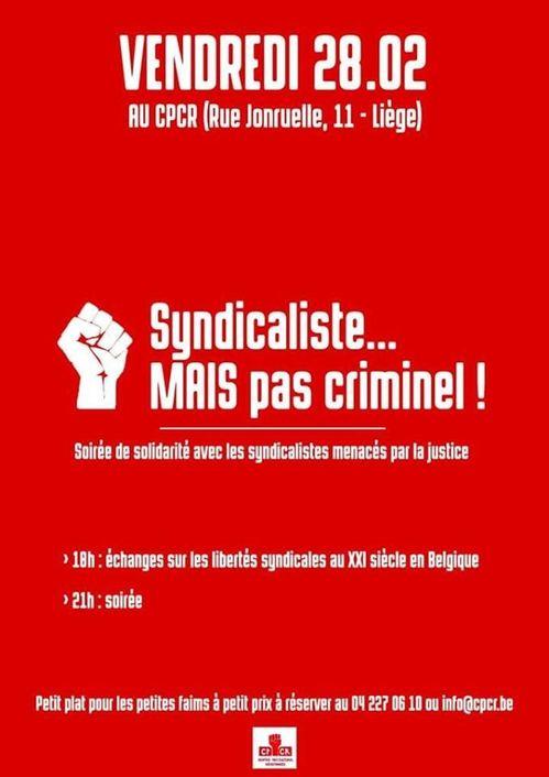 Belgique : Soirée de soutien aux syndicalistes menacés par la justice