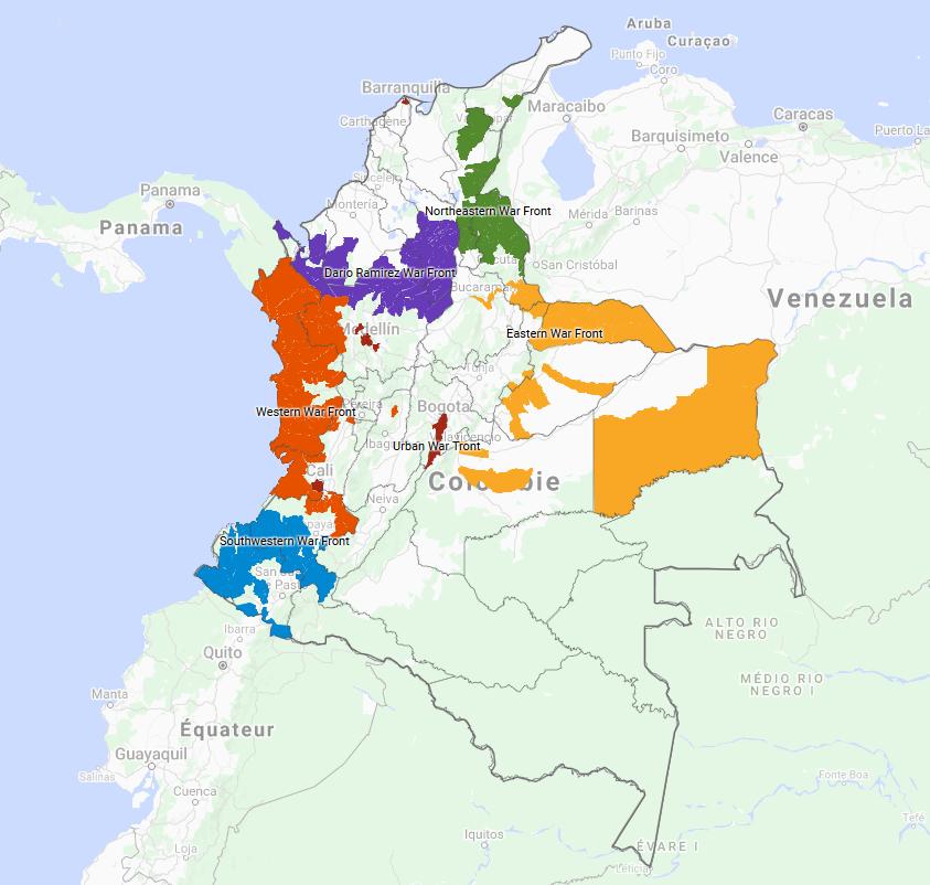 Zones contrôlées par l'ELN