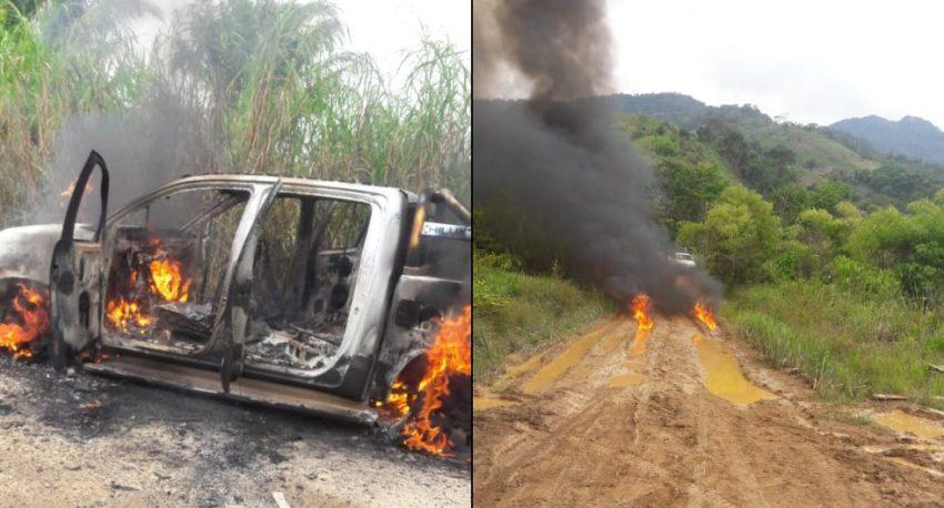 Le véhicule de police incendié après l'embuscade