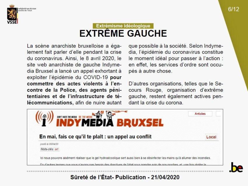 """La page """"extrême gauche"""" de la note"""