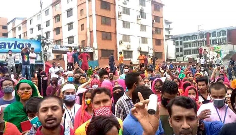 La manifestation des travailleurs du textile