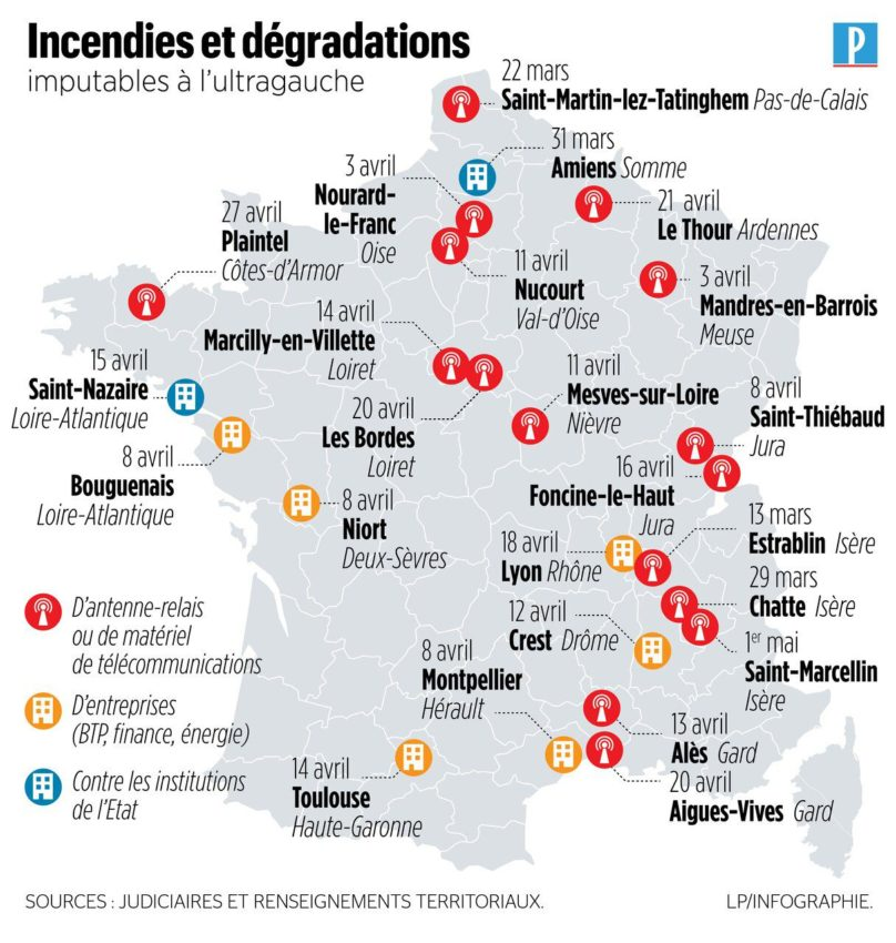 La carte des actions de sabotage en France