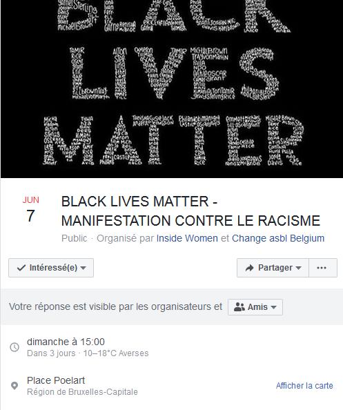 manifestation Black Lives Matter à Bruxelles