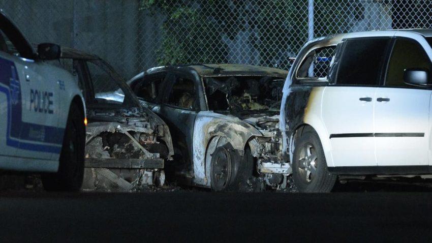 Les voitures incendiées