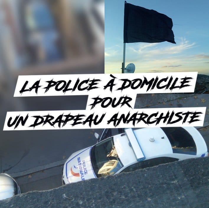 La police intervient pour faire enlever un drapeau anarchiste d'un balcon