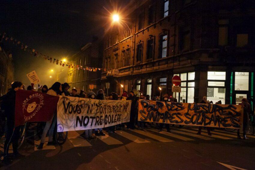 Manifestation contre le couvre-feu à Liège